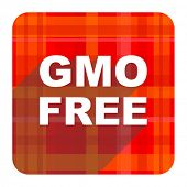 gmo free red flat icon isolated
