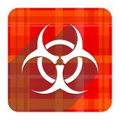 biohazard red flat icon isolated