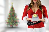 Sexy santa girl holding gift against blurry christmas tree in room