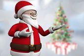 Cute cartoon santa claus against blurry christmas tree in room