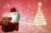 Festive boy opening gift against red abstract light spot design