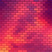 Sundown themed background with brick grid