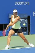 Professional tennis player Angelique Kerber from Germany practices for US Open 2014