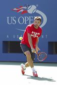 Grand Slam Champion Stanislas Wawrinka practices for US Open 2014