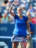 Two times Grand Slam champion Petra Kvitova celebrates victory after US Open 2014