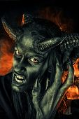 stock photo of hades  - Portrait of a devil with horns - JPG