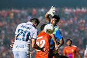 Sisaket Thailand-october 15: Javier Patino Of Buriram Utd. Head The Ball During Thai Premier League