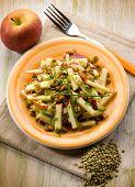 lentils salad with slice apple