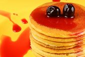 Pancakes With Syrup And Sour Cherries