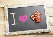 I love chocolate written on chalkboard, close-up