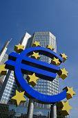 Euro symbol with European Central Bank, Frankfurt Am Main