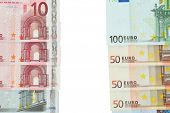 Euro banknotes isolated on white