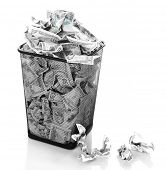 image of dustbin  - Money in dustbin isolated on white - JPG