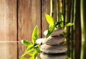 Spa stones and bamboo branches on mirror surface on wooden wall background