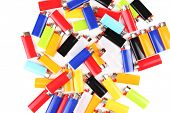 Colorful lighters isolated on white