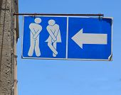 picture of toilet  - Old Sign of Public toilets - JPG