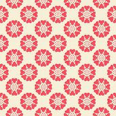 Floral vector seamless pattern. Red and white shabby colors