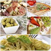 Collage of tasty Italian food