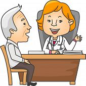 Illustration Featuring an Elderly Man Talking to His Doctor