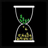 White Hourglass With Dollar And Euro Money Signs. Black Backgrou