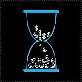 Blue Hourglass With Dollar And Euro Money Signs. Black Backgroun