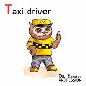 Alphabet professions Owl Letter T - Taxi driver character Vector Watercolor.