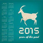 2015 year of the goat calendar. Vector.