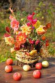 bouquet of autumn flowers in garden