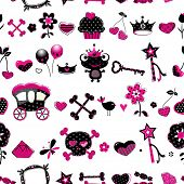 seamless pattern in black, pink and red