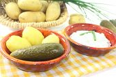 Potatoes And Curd With Pickles