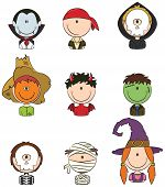 stock photo of halloween characters  - Cute collection of Halloween boy and girl character avatars - JPG
