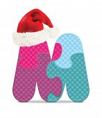 Letter M written with alphabet puzzle with Christmas hat - vector illustration