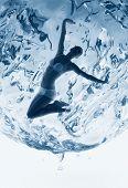 Healthy Woman Inside Of Water Sphere
