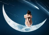 Healthy Woman Sitting On Moon