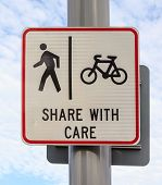 Bicycle And Pedestrian Lane Road Sign On Pole Post, Bike Cycling And Walking Walkway Footpath Route