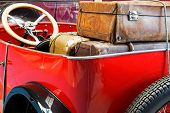 Old Leather Suitcases In A  Car Trunk