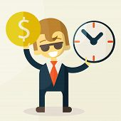 Businessman has money and clock.