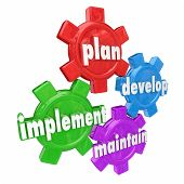 Plan, Develop, Implement and Maintain words on gears to illustrate the steps in creating and rolling out a strategy for a business, company or organization