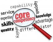 Core Competency words under a magnifying glass to illustrate a unique or essential service, capability, skill, quality or other differentiator or advantage