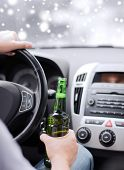transportation, alcohol, vehicle and people concept - close up of man drinking alcohol while driving car