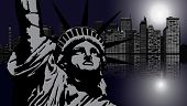 image of liberte  - New York and Statue of Liberty in Night vector - JPG