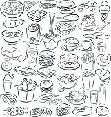 stock photo of food crops  - vector illustration of food and drink collection in black and white - JPG