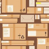 Packages and boxes seamless pattern