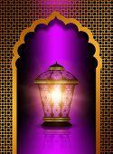 Shiny Diwali Lantern Over Violet  Background