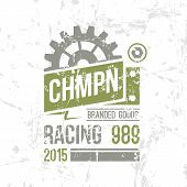 Emblem Racing Championship In Retro Style