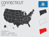 Set Of Infographic Elements For The State Of Connecticut