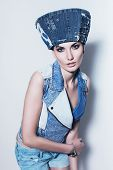 Woman In Blue Denim Waistcoat And Hat