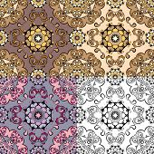 Set Of Squared Backgrounds - Ornamental Seamless Pattern. Design For Bandanna, Carpet, Shawl, Pillow