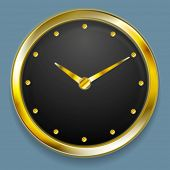 Abstract golden clock design. Vector design