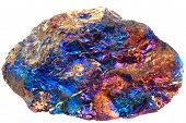 Chalcopyrite Mineral  Isolated On The White Background